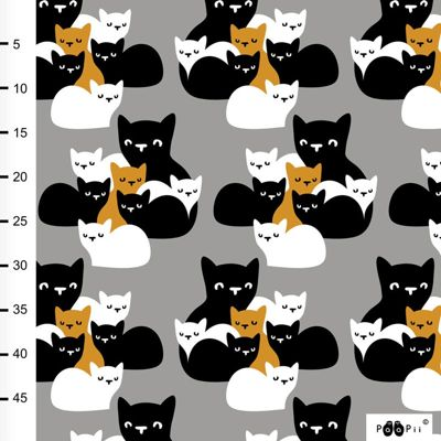 Jersey biologique · Kittens · Gris et moutarde · Une collection Paapii Design