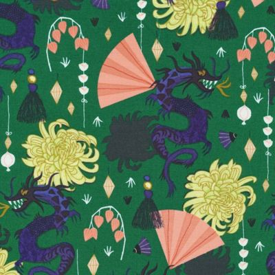 Organic poplin · Fierce Green · Dragons and Lanterns Collection · Cloud9 Fabrics
