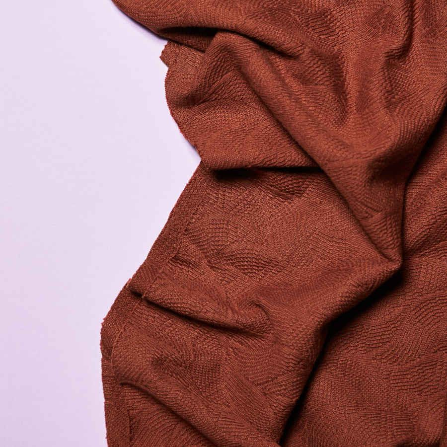 Jersey jacquard biologique Leaf · Marron Sienna · Mind The Maker